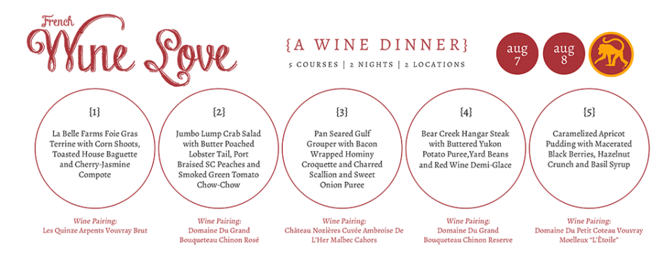 french wine love menu